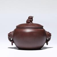 宜�d紫砂茶�~罐普洱醒茶罐茶�~包�b盒紫泥貔貅祥瑞茶�~罐