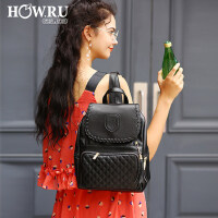 优哈2018新款夏季包包潮韩版女双肩包休闲菱格背包学院风书包女包