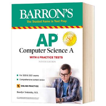 巴朗AP计算机科学A第8版 英文原版 Barron's AP Computer Science A 附全真试题 线上测试 答案解析 英文版进口英语AP考试用书 AP计算机科学考试高分指南