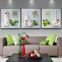 餐厅装饰画浮雕画现代酒店卧室三联有框画沙发背景墙壁画客厅挂画 青苹果 60*60 25mm厚板 拼套
