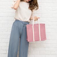 家居生活用品帆布袋购物袋便携环保手提袋女单肩大容量文件袋男韩版学生书袋子 横向大号
