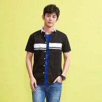 美特斯邦威短袖衬衫男士夏装时尚撞色条休闲舒适衬衣韩版青年潮