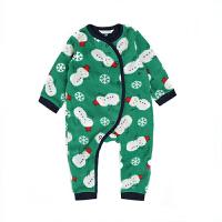 婴儿连体衣春秋新生儿衣服偏开卡通加绒哈衣0-3个月男女宝宝爬服