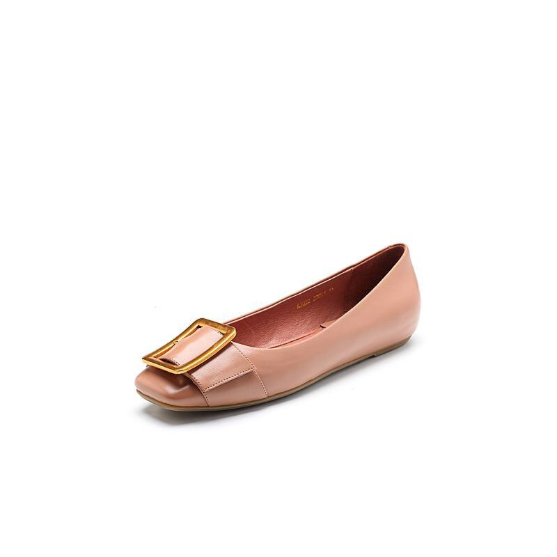 BASTO/百思图2018春季专柜同款牛皮方头浅口金属扣女单鞋RJU22AQ8