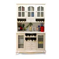 欧式餐边柜实木厨房餐厅客厅柜子微波炉柜茶水柜储物柜酒柜桌边柜 带高柜 3门