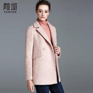 颜域品牌女装2017冬装新款宽松西装领斑点毛呢外套中长款大衣女