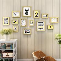 家居生活用品照片墙 相框墙上创意个性相册墙免打孔背景墙壁 装饰相框挂墙组合 金色 (克鲁画芯)