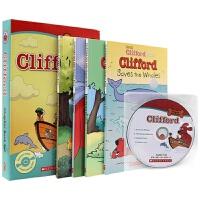 大红狗系列4册 附原版CD 英文原版儿童读物 Clifford Chapter Book 儿童英语桥梁章节书套装 现货