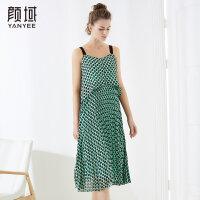 颜域品牌女装2018夏季装新款时尚A型撞色双层波点印花吊带连衣裙