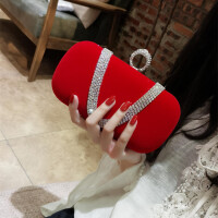 2018新品丝绒水钻指环包女小手拿包晚宴包链条斜跨宴会包名媛女包