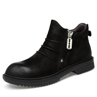 秋冬季马丁靴高帮男靴韩版真皮靴子男鞋纯牛皮短靴