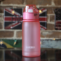 学生男女户外运动水壶儿童便携吸管水杯子防摔塑料瓶太空杯 吸管粉色 408ml