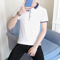 夏季男士小翻领条纹polo衫男修身短袖t恤潮流半袖衬衫领体恤男装