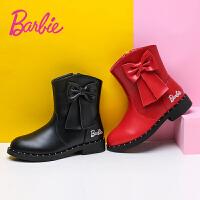 芭比女童靴子秋冬新款2017韩版百搭短靴子加绒加厚公主二棉真皮靴
