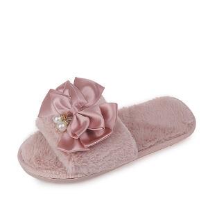 WARORWAR法国YM12-1812新品冬季韩版平底鞋舒适女士毛拖鞋