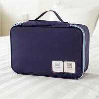 旅行收纳袋行李箱分装整理包大容量女手提包防水内衣物袜子收纳包s6 加厚款-(纳彩M码小号)藏青 中
