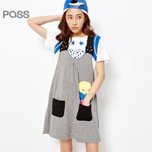 PASS女装春装新款 宽松休闲可爱大码胖MM短背带连衣裙6612441009