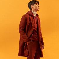 【1件3折到手价:440.7】MECITY男装宽松毛呢大衣两粒扣大贴袋长款大衣
