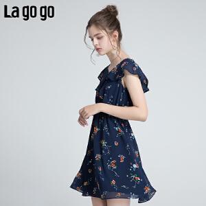 【清仓3折价119.7】Lagogo/拉谷谷2019年夏季新款淑女气质印花女连衣裙HALL305Y37