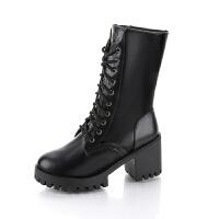 马丁靴女英伦风中筒靴子女冬季加绒高帮女鞋高跟短靴粗跟棉靴 黑 皇冠款