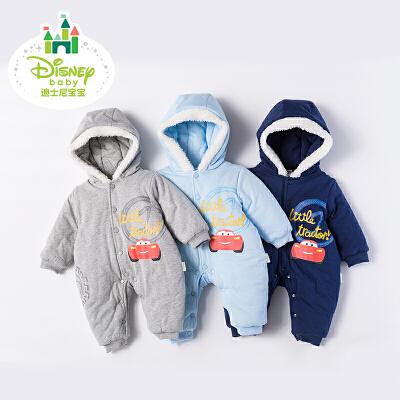 【限时抢:77】迪士尼Disney婴儿连体衣秋冬新款棉衣宝宝外出加厚夹棉哈衣外出爬服174L734 可爱小汽车夹棉带帽连体衣