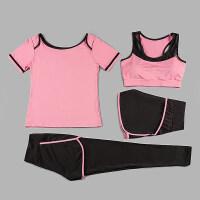 瑜伽服套装女夏季运动服跑步速干背心短裤健身房性感修身显瘦 四件套