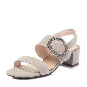 Tata/他她2018夏专柜同款羊皮革绒面通勤金属扣粗高跟女凉鞋S2203BL8
