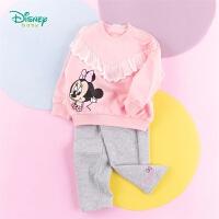 迪士尼Disney童装 女童花边卫衣套装春季新品甜美米妮印花上衣纯棉休闲裤2件套201T1081