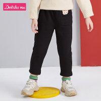 【限时抢购价:29】笛莎童装女童长裤冬季新款中大童儿童小女孩宽松加绒洋气裤子