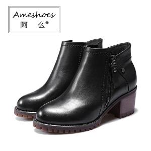 阿么秋新真皮女靴牛筋底韩版中跟短靴粗跟单靴防滑休闲骑士靴