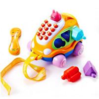 儿童玩具电话婴儿积木玩具宝宝手机0-3岁男孩牵引小汽车抖音