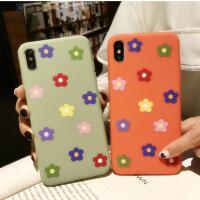 【包邮】ins橙色花朵泫雅风iPhone X手机壳苹果7plus/8p全包磨砂软套iPhone6s硅胶壳抹茶绿少女款x