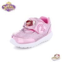 迪士尼Disney童鞋2018新款婴幼童学步鞋小公主宝宝鞋轻软透气女童闪灯鞋儿童运动鞋(04-岁可选)  K00174