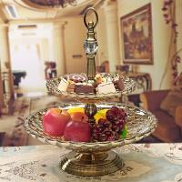欧式家用玻璃水果盘客厅创意摆件现代茶几美式干果盘果盆糖果