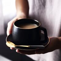 小资欧式精美手工描金咖啡杯碟黑色高档马克杯陶瓷杯下午茶配碟勺 描金哑光黑咖啡杯碟(送金勺)