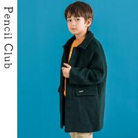 【3件价:129.9元】铅笔俱乐部男童2019秋冬童装新款儿童毛呢大衣中大童翻领呢子外套