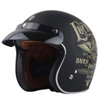 摩托车头盔夏复古盔巡航机车哈雷头盔 男太子盔可装外置镜片