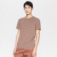 【1件2.5折到手价:37.5】MECITY男装春季条纹海军风圆领短袖T恤男韩版修身