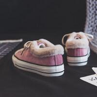 秋冬加绒帆布鞋女新款ins网红运动休闲保暖棉鞋韩版chic学生板鞋 B8-粉色