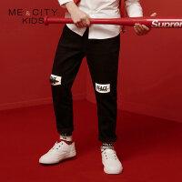 【1件2折到手价:49.8】米喜迪mecity童装秋新款男童膝部分割梭织长裤