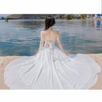 性感露背挂脖雪纺连衣裙仙女裙不规则大摆拖地长裙海边度假沙滩裙 白色
