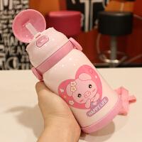 儿童保温杯学生带吸管水壶宝宝幼儿园水杯卡通可爱饮水杯便携背带