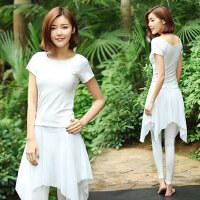 新款显瘦瑜珈服健身服装女白色飘逸舞韵瑜伽服套装女假两件表演服装