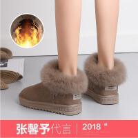公猴人气爆款雪地靴女冬季新款短靴舒适时尚加绒棉鞋加厚棉靴平底保暖毛毛靴子