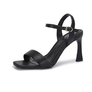骆驼女鞋 2018夏季新款时尚优雅细跟高跟鞋真皮港味凉鞋女chic风