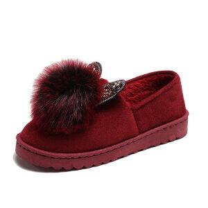 WARORWAR新品YM13-A820-1秋冬韩版毛绒平底舒适女士毛毛单鞋