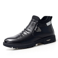 加绒保暖套脚中老年人爸爸鞋冬天雪地棉鞋男士休闲小皮鞋