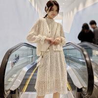 套装连衣裙春季新款isn超仙女针织马甲百褶两件套过膝中长裙女士 均码