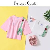 【3件2折:27.8】铅笔俱乐部童装2020春季新款女童中袖中大童纯棉T恤儿童上衣夏装