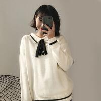 春装新款韩版学院风百搭系带翻领针织毛衣女宽松长袖上衣学生外套